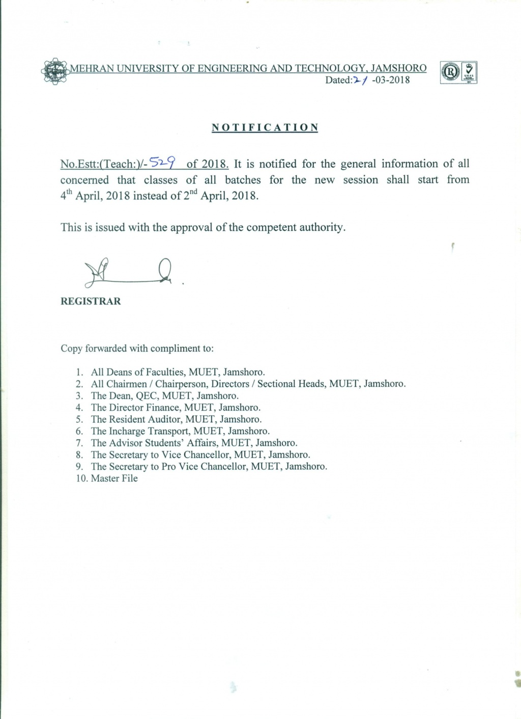 Notification for classes of all batches for new session