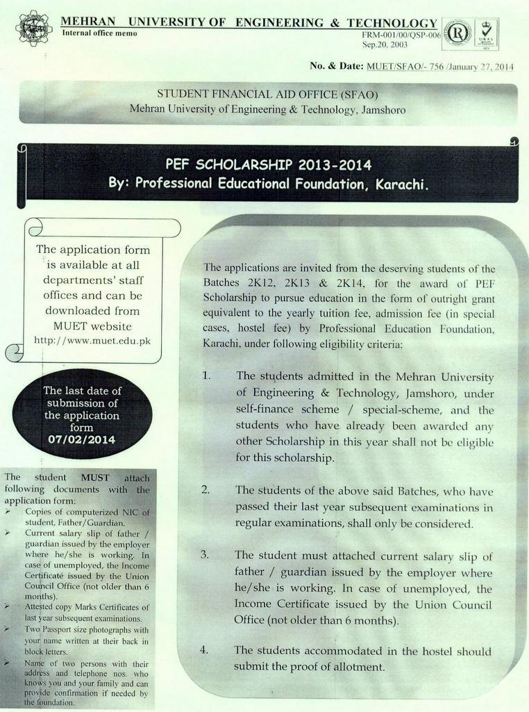 PEF Scholarship 2013-2014 | Mehran University
