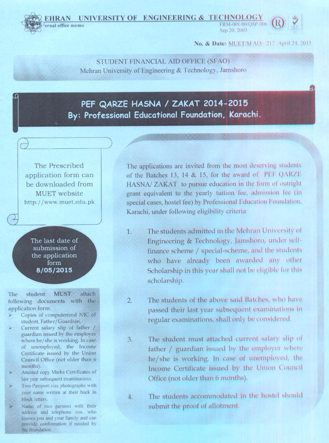 Professional Education Foundation Zakat and Qarze Hasna | Mehran