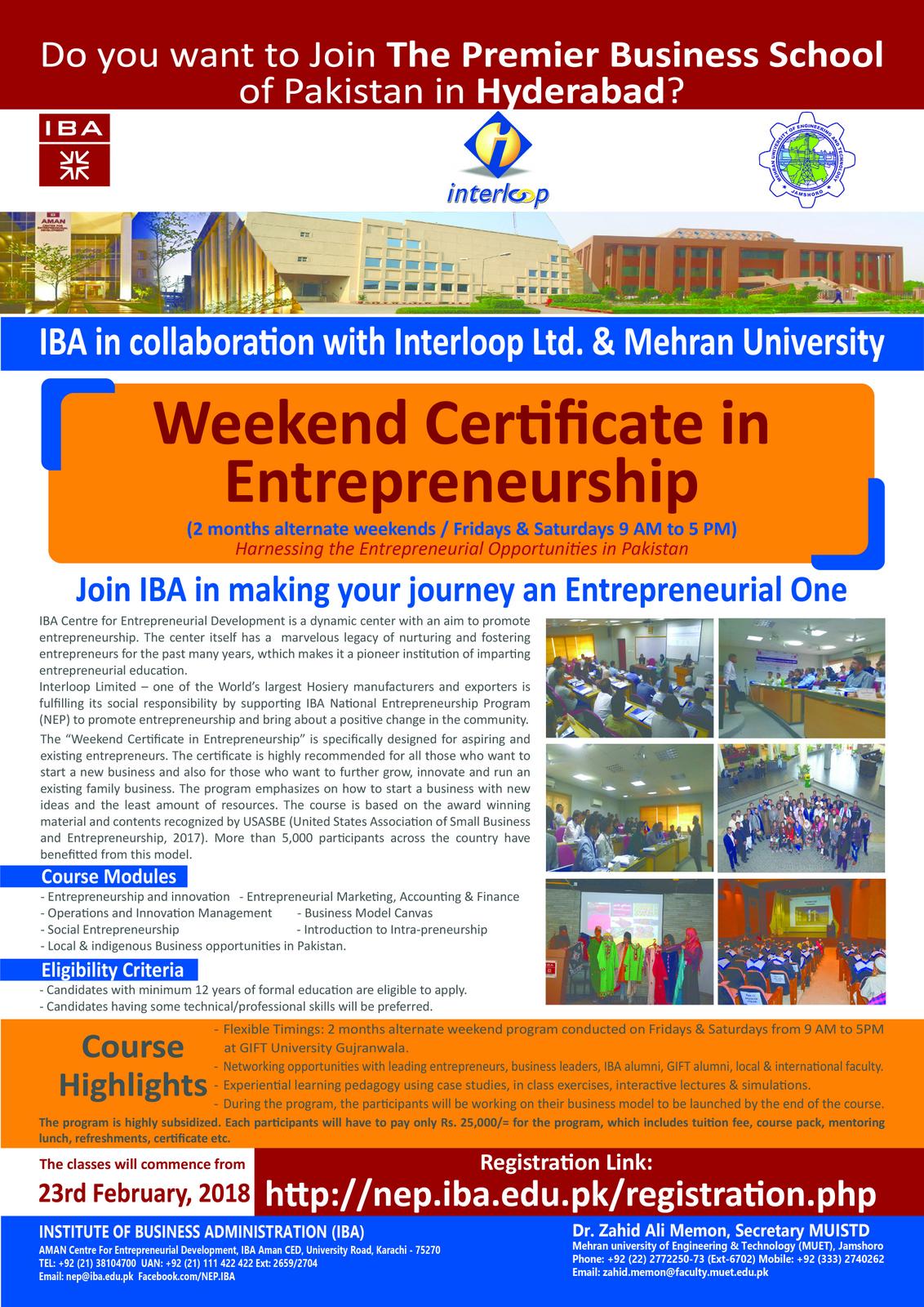Weekend Certificate In Entrepreneurship Mehran University