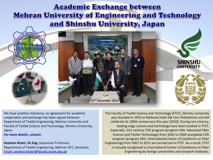 Academic Exchange between Mehran UET, Pakistan & Shinshu