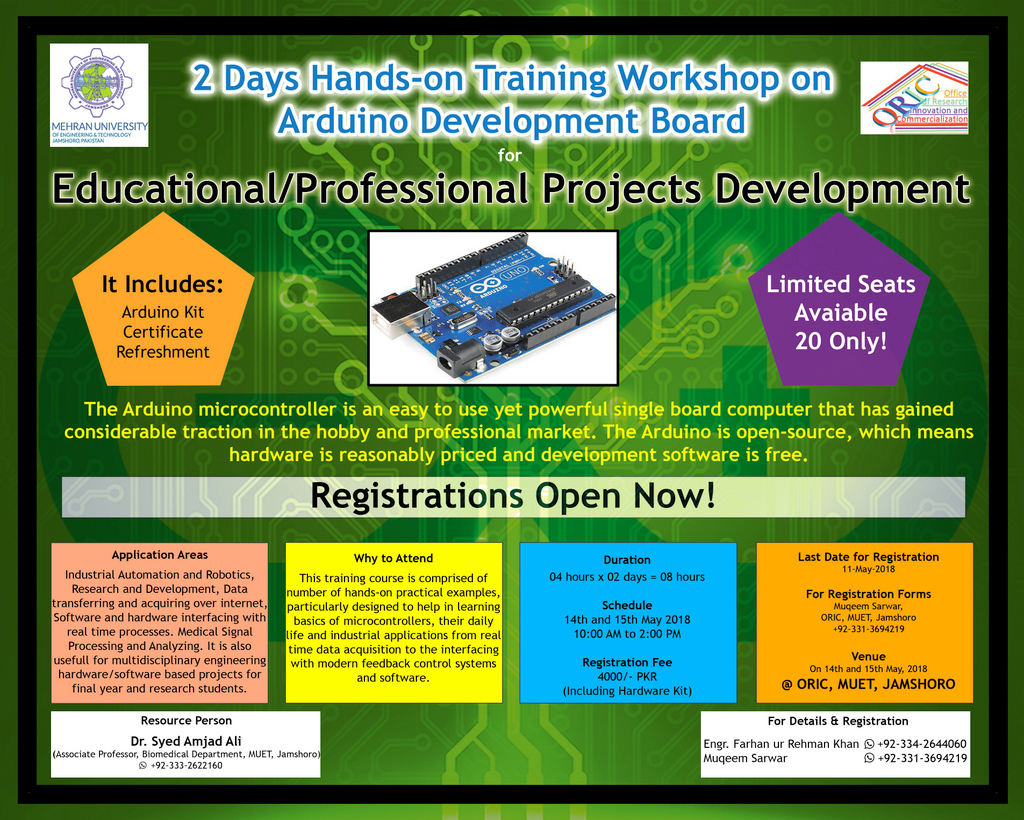 2 Days Hands-on Training Workshop on Arduino Development Board