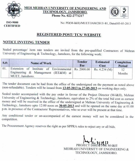 Extension of Institute of Environment Engineering & Management, MUET, Jamshoro