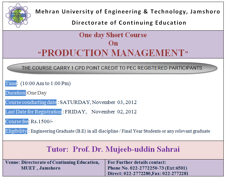 One day short course on Production Management