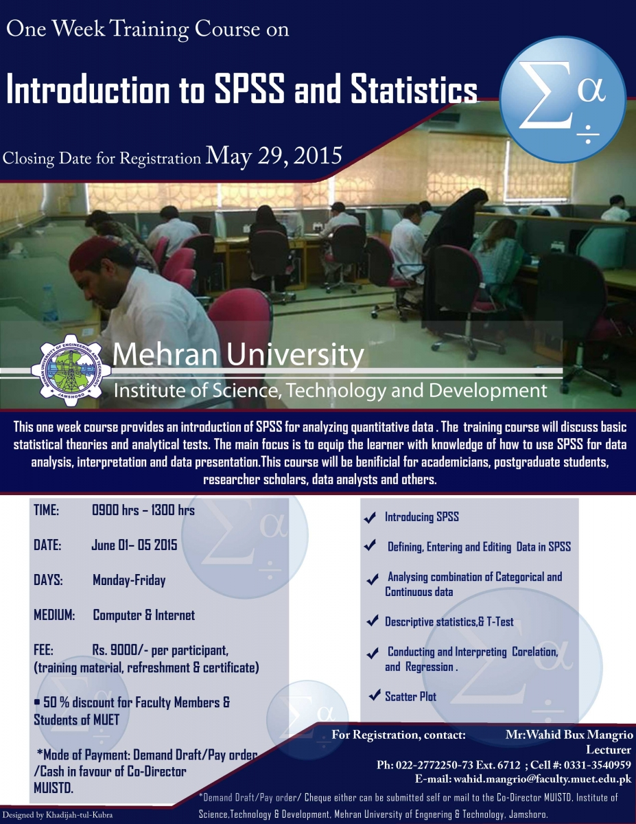 One week training course on SPSS and Statistics- Mehran University Institute of Science Technology and Development - MUET 1