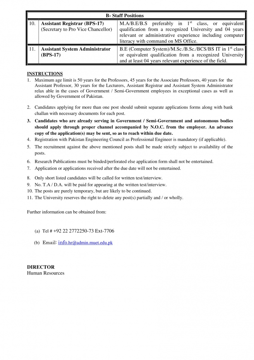 FACULTY AND STAFF POSITIONS AT MUET, S Z A B CAMPUS