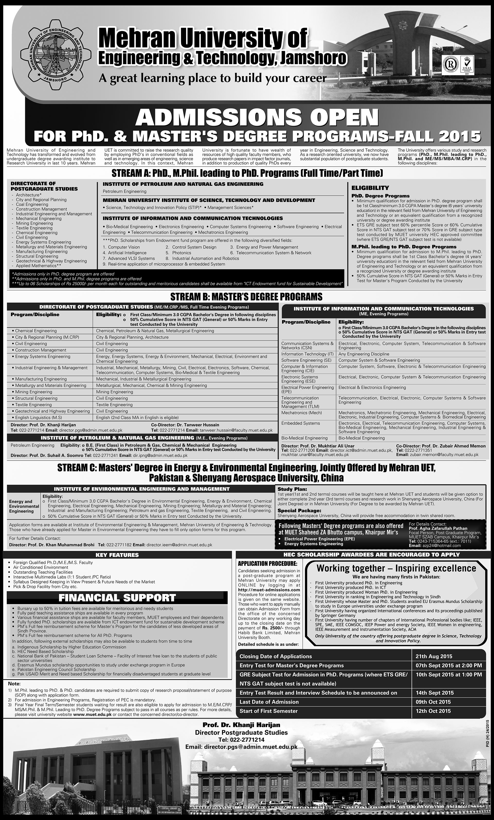 Admissions Open For Phd Amp Master S Degree Programs Fall