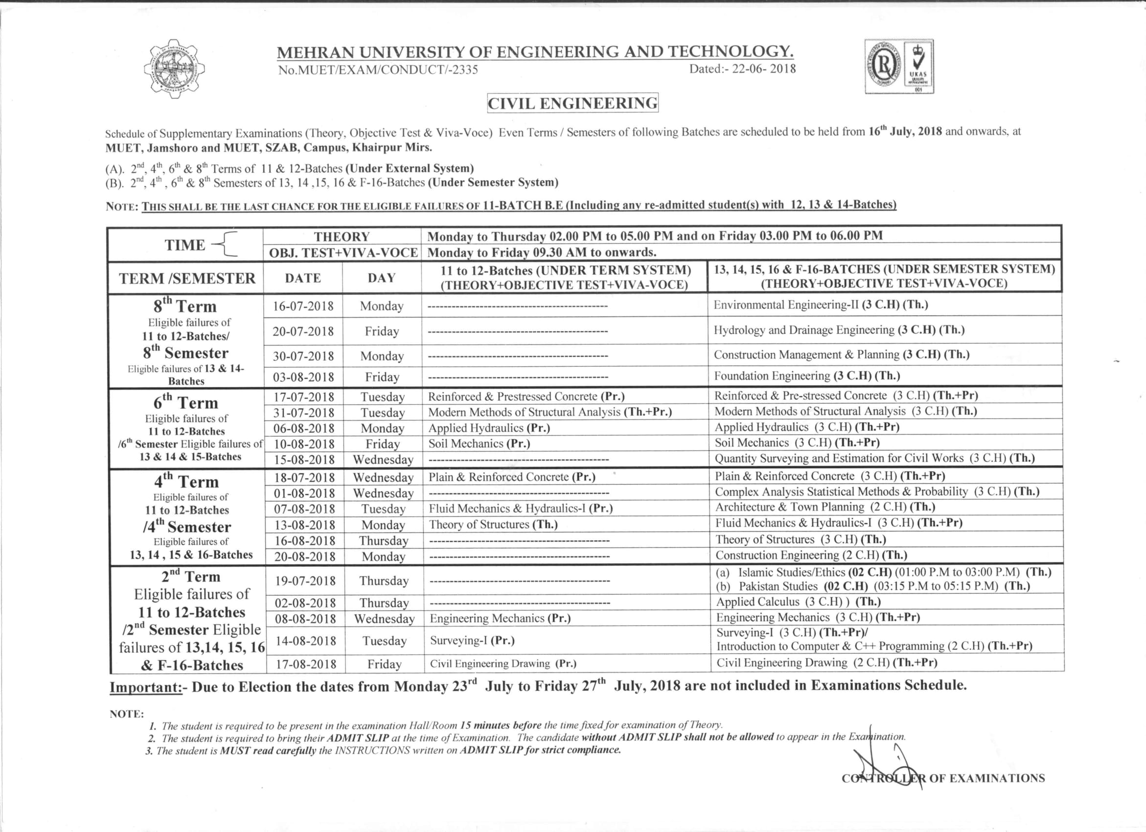 Schedule of Supplementary Examination to be held from 16th July