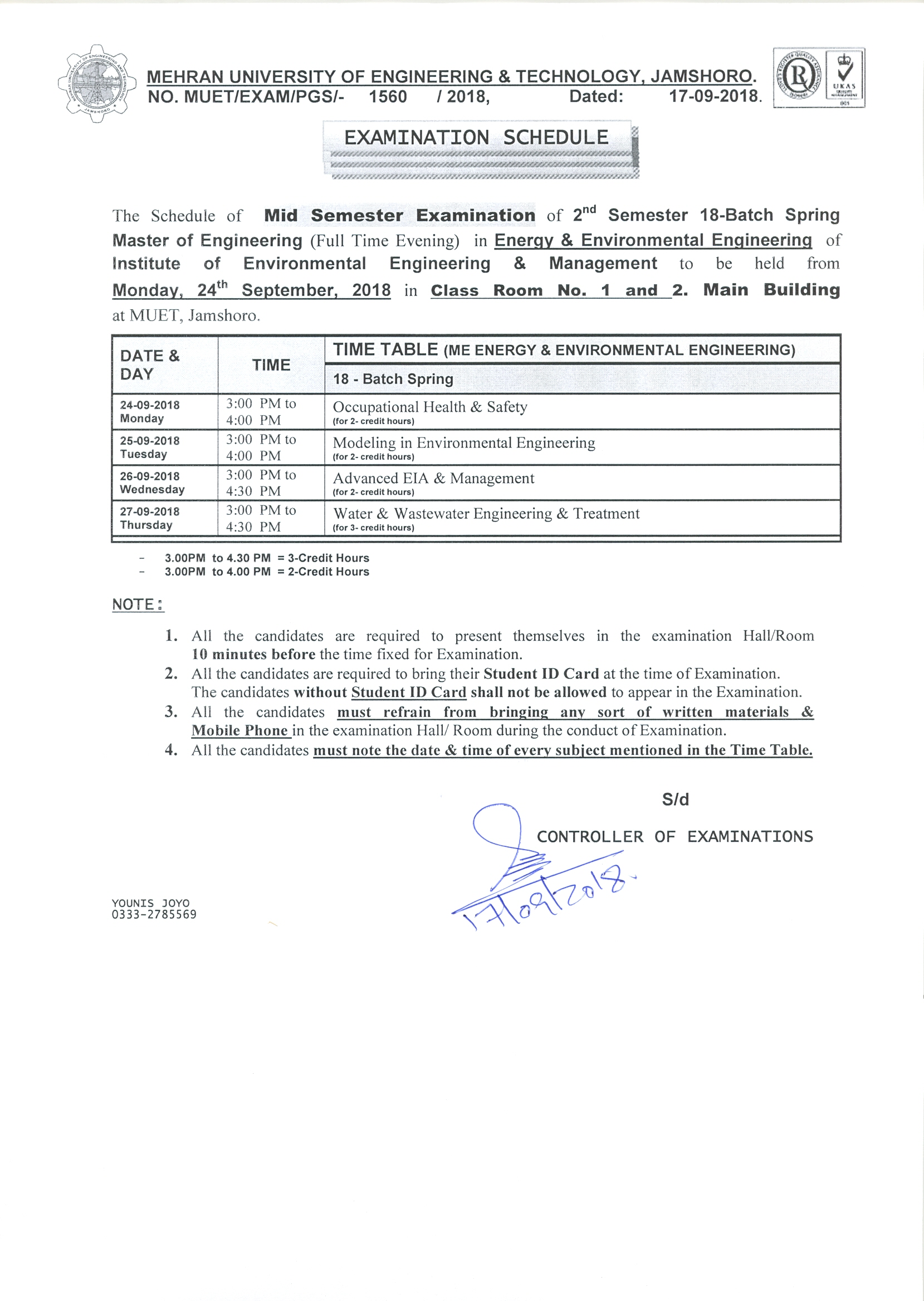MID Semester Schedule/Time table for 18-Batch Post-graduate | Mehran