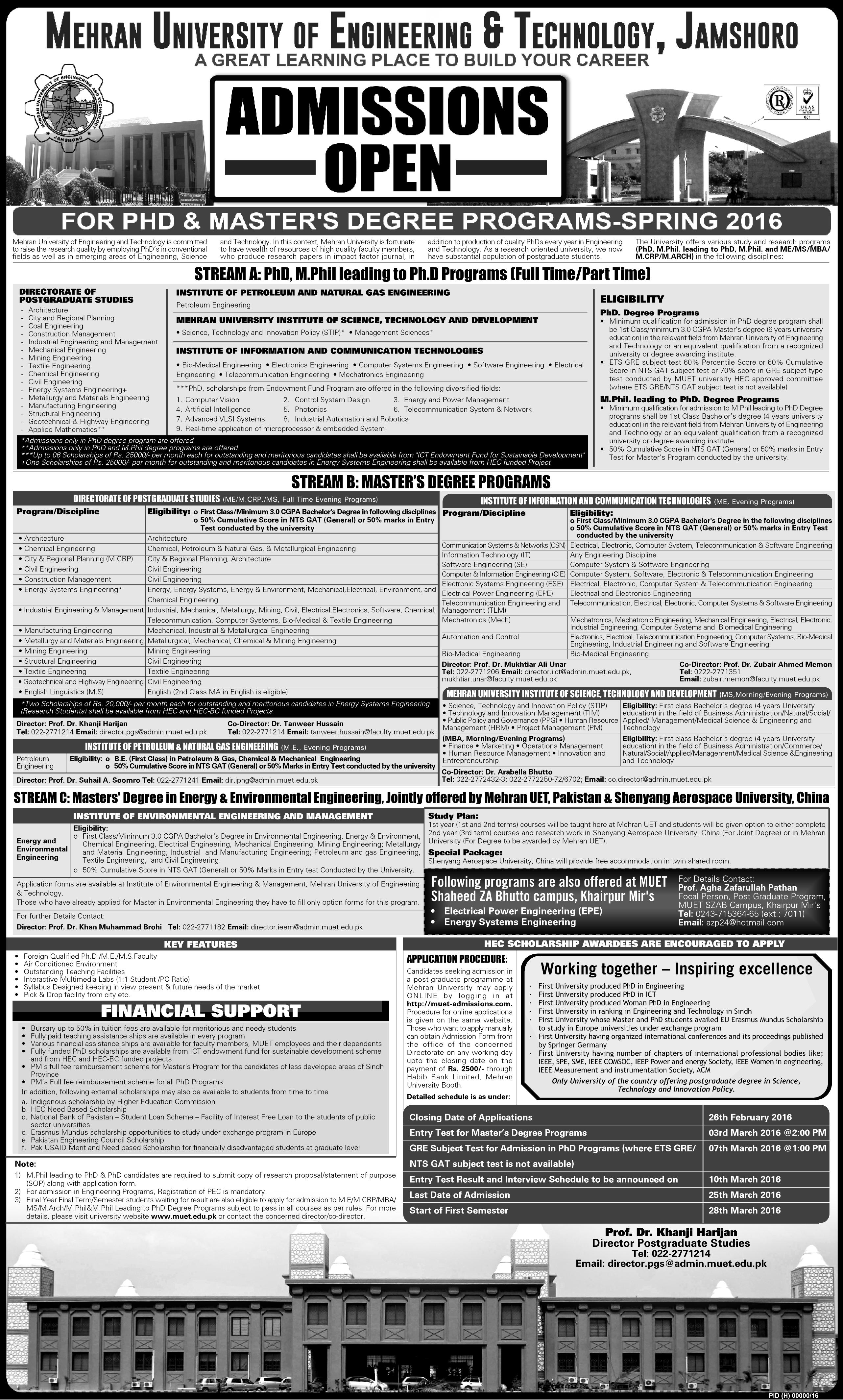 Admissions Open for PhD & Master's Degree Programs - Spring